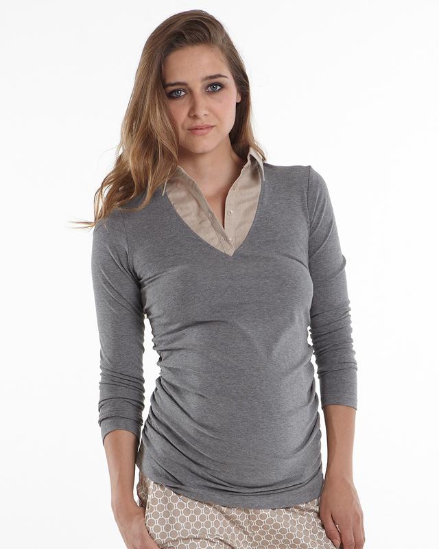haut faux col chemise femme enceinte hauts grossesse. Black Bedroom Furniture Sets. Home Design Ideas