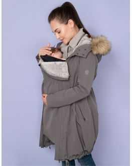 Parka grossesse gris évolutif couvre bébé