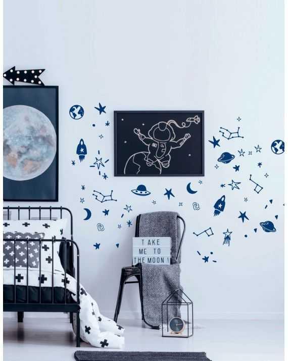 Stickers espace bleus