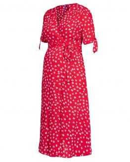 Robe grossesse midi Bessie rouge