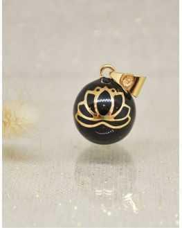 Bola grossesse fleur de lotus noir plaqué or jaune