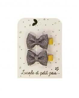 Duo mini barrettes bébé papillon Glitter bronze