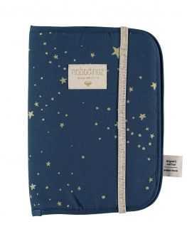 Protège carnet de santé bleu étoiles dorées Poema