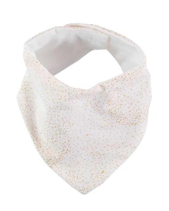 Bavoir bandana blanc bulles dorées