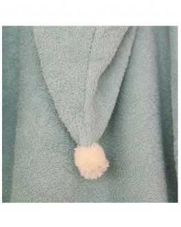 Poncho de bain vert 3/5 ans coton bio