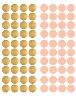 Stickers pois dorés et rose poudré