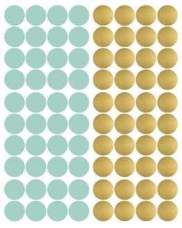 Stickers pois menthe et doré