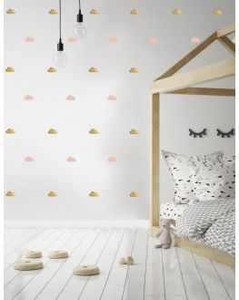 Stickers muraux doux nuages rose poudre et or, Pöm le bonhomme- INELLE