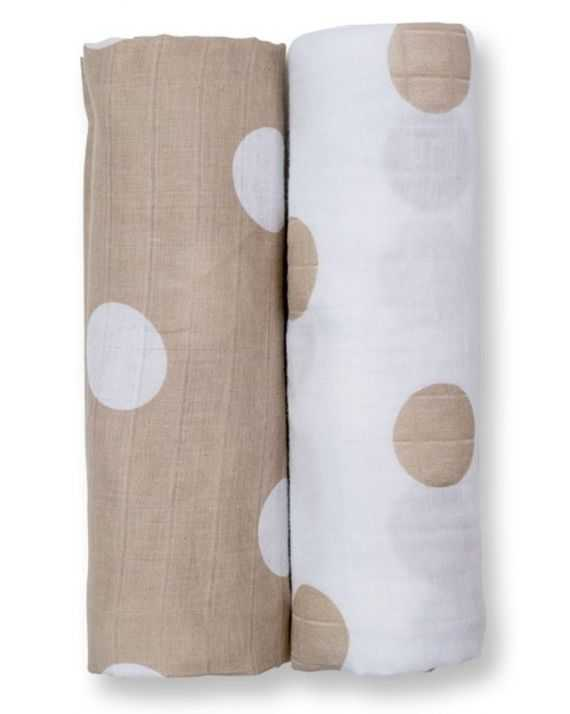 Pack 2 langes mousseline pois taupe