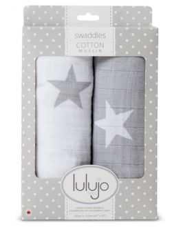 Pack 2 langes en coton étoiles gris blanc