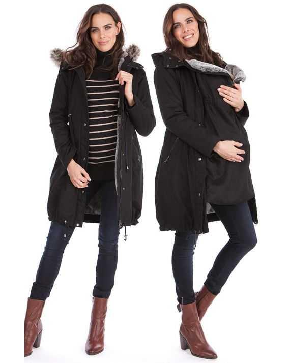 Parka grossesse noire et couvre bébé